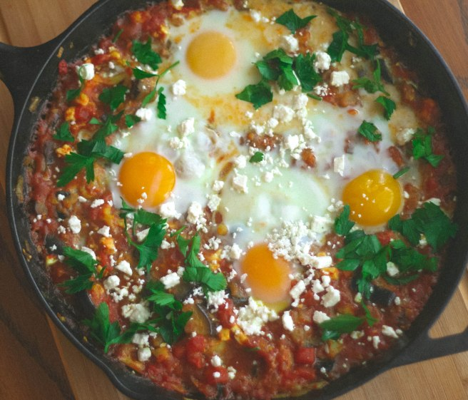 shakshuka with eggplant and caulifower